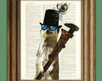 Steampunk Animals Collection Cogsworth the STEAMPUNK MEERKAT Mechanic with a Massive Monkeywrench dictionary page book art print