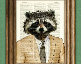 Raccoon Art Print Well-Suited RACCOON illustration beautifully upcycled dictionary page book art print