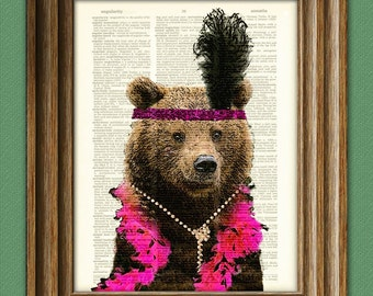 She's the bee's knees Hattie the FLAPPER BROWN BEAR dictionary page art print