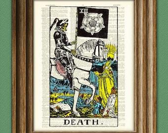 Death Major Arcana Tarot Card deck print over an upcycled vintage dictionary page book art
