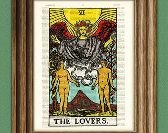 The Lovers Major Arcana Tarot Card print over an upcycled vintage dictionary page book art