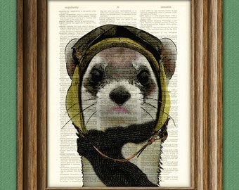 Bombardier Bob STEAMPUNK PILOT FERRET fighter ace hat and goggles illustration beautifully upcycled dictionary page book art print