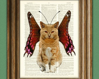 Sprinkles the Butterfly Fairy Kitty Cat illustration beautifully upcycled dictionary page book art print