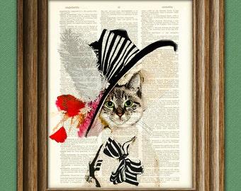 Audrey Hepburn My Fair Kitty Cat illustration beautifully upcycled dictionary page book art print Cat art print