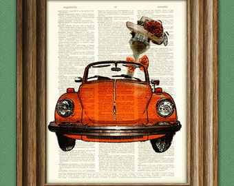 Ostrich out on a Sunday Drive in a Fancy Hat in a VW convertible illustration beautifully upcycled dictionary page book art print