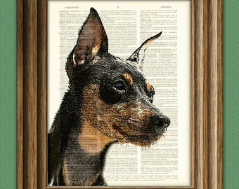 Miniature Pinscher Min pin dog beautifully upcycled vintage dictionary page book art print
