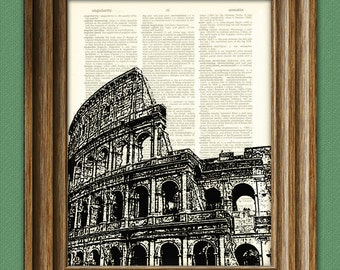 Roman Colosseum in Italy illustration beautifully upcycled dictionary page book art print 8.5 x 11