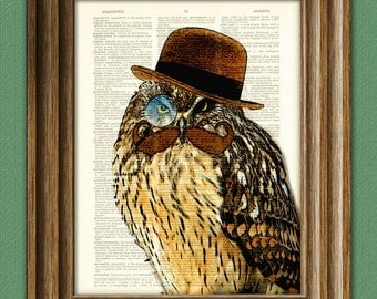 Chet the Debonair OWL with epic handlebar mustache, fancy bowler hat and monocle illustration suave dictionary page book art print