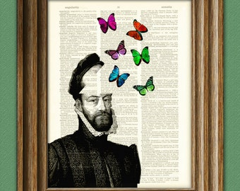 The Butterfly King illustration beautifully upcycled dictionary page book art print
