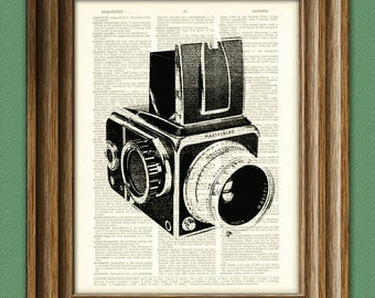 Antique HASSELBLAD CAMERA print over an upcycled vintage dictionary page book art
