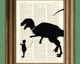 Pet Dinosaur Art Print in Silhouette 'Tyler and Rex' beautifully upcycled dictionary page book art print