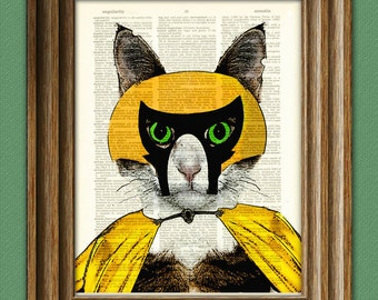 Lucha Libre Cat Luchador 'El Gato Diablo' wrestling mask illustration beautifully upcycled dictionary page book art print
