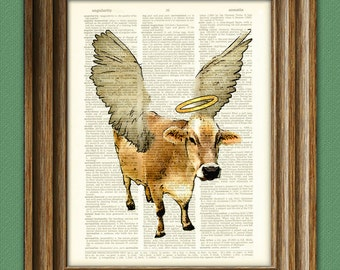 Holy Cow Art Print illustration beautifully upcycled dictionary page book art print