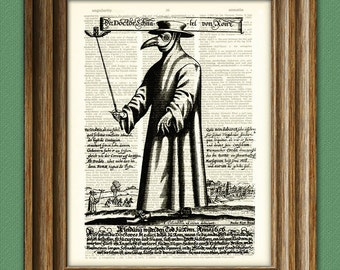 Plague Doctor Art Print mask illustration beautifully upcycled dictionary page book art print