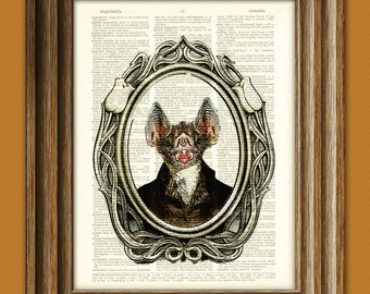 Halloween art print Bat Boy's first school portrait illustration beautifully upcycled dictionary page book art print