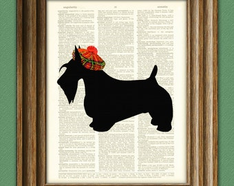 Scottish Terrier with Scottish Tam hat Scottie dog beautifully upcycled vintage dictionary page book art print