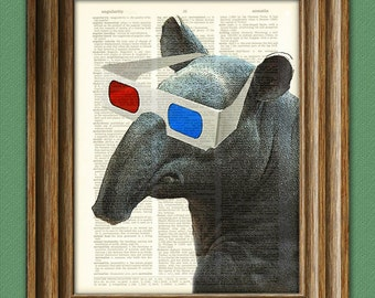 Tapir Art Print Tonya Tapir with Old School 3D Glasses illustration beautifully upcycled dictionary page book art print