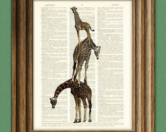 Giraffe Art Print A Tower of Giraffes illustration Animal Groups Collection upcycled dictionary page book art print