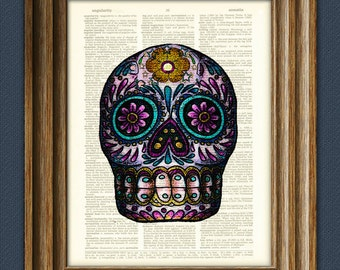 Sugar Skull Calavera Day of the Dead art print over an upcycled dictionary page book art print