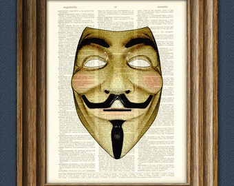 Guy Fawkes Mask Art Print mask illustration beautifully upcycled dictionary page book art print