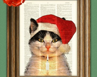 "Christmas Kitten Art Print ""Waiting for Santa Claws"" Santa Claus Cat with candle illustration upcycled dictionary page book art print"