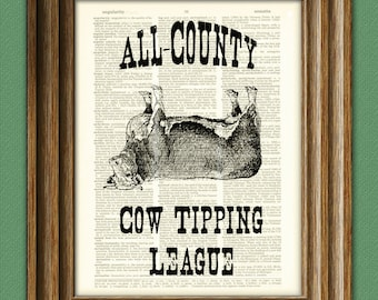 All-County Cow Tipping League illustration beautifully upcycled dictionary page book art print