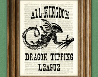 All Kingdom Dragon Tipping League art print on vintage upcycled dictionary page book art print