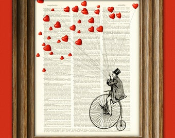 Flying Heart Art Print 'The Heart Thief' Valentine's Day Man on Penny Farthing Bike with birds illustration upcycled dictionary page book