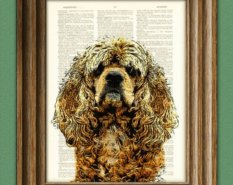 Cocker Spaniel dog beautifully upcycled vintage dictionary page book art print