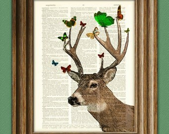 Whitetail Deer Art Print Deer with Butterflies illustration beautifully upcycled dictionary page book art print