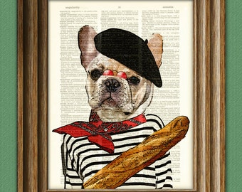 Pierre the French Bulldog dog with beret and baguette illustration beautifully upcycled dictionary page book art print