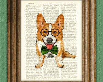 Poindexter the Teacher's Pet Corgi with glasses and bow tie Corgi dog original art vintage dictionary page book art print