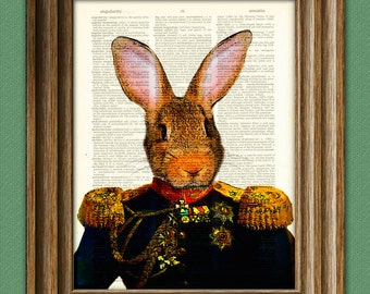 General Fluffy Bunny Rabbit with military uniform and mad medals illustration beautifully upcycled dictionary page book art print