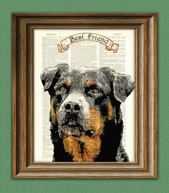 Dog Art Print ROTTWEILER dog beautifully upcycled vintage dictionary page book art print PERSONALIZED