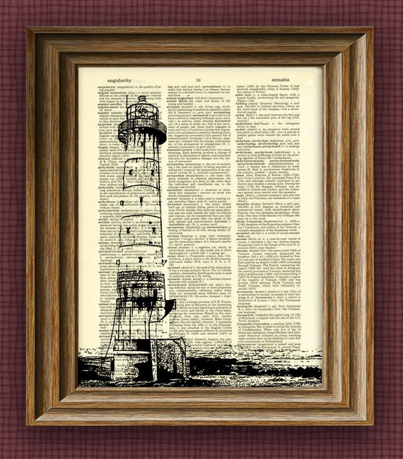 LIGHTHOUSE awesome upcycled vintage dictionary page book art print Buy 3 Get 1 Free