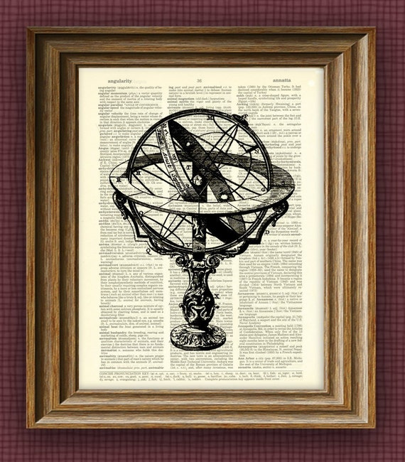 Armillary Sphere illustration beautifully upcycled dictionary page book art print