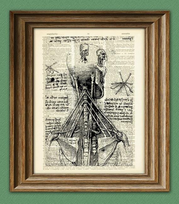 Anatomy of the Neck from Leonardo Da Vinci on vintage dictionary page book art print Davinci