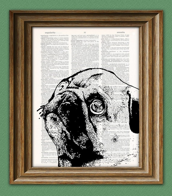 PUG dog beautifully upcycled vintage dictionary page book art print 8.5 x 11
