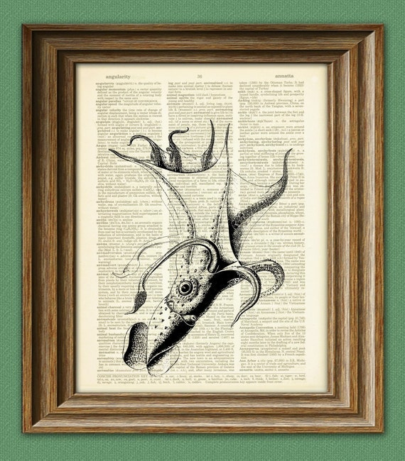 UMBRELLA SQUID beautifully upcycled vintage dictionary page book art print