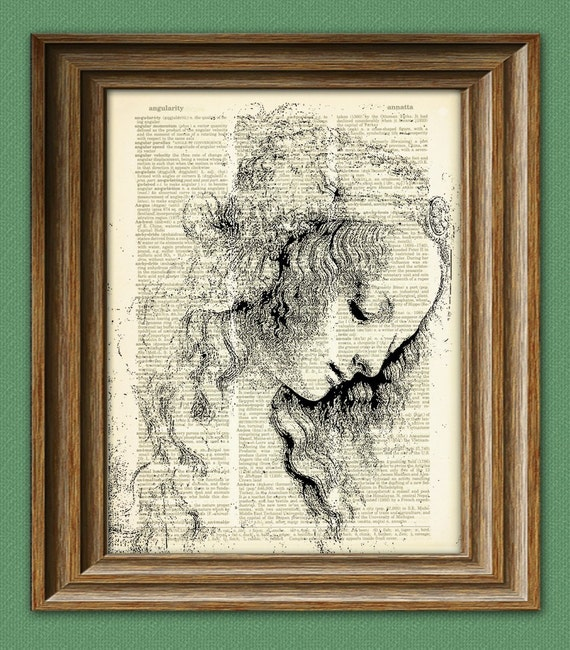 Beautiful Woman from Leonardo Da Vinci sketch on vintage dictionary page book art print Davinci