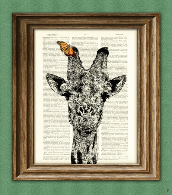 Giraffe Art Print Giraffe with Butterfly illustration beautifully upcycled dictionary page book art print