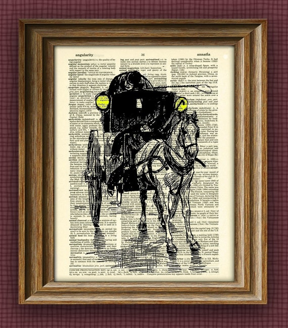 HORSE AND CARRIAGE print over an upcycled vintage dictionary page book art