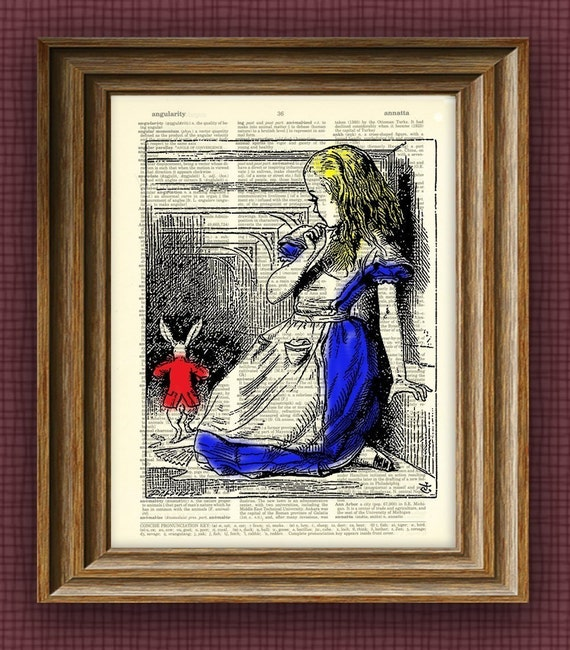 Alice in Wonderland White Rabbit illustration beautifully upcycled dictionary page book art print