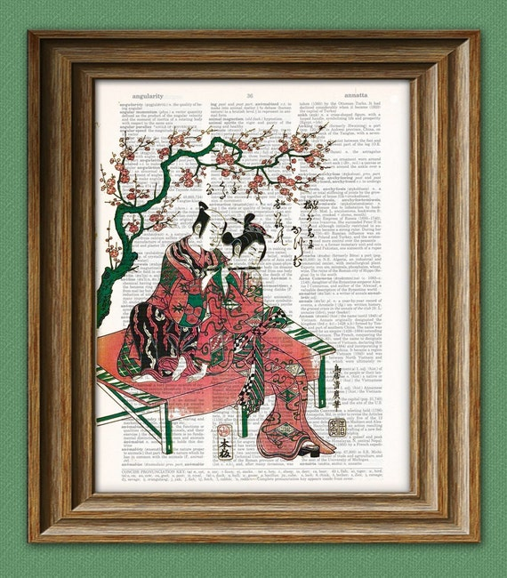 The Harmonic Couple Japanese beautifully upcycled vintage dictionary page book art print 8.5 x 11