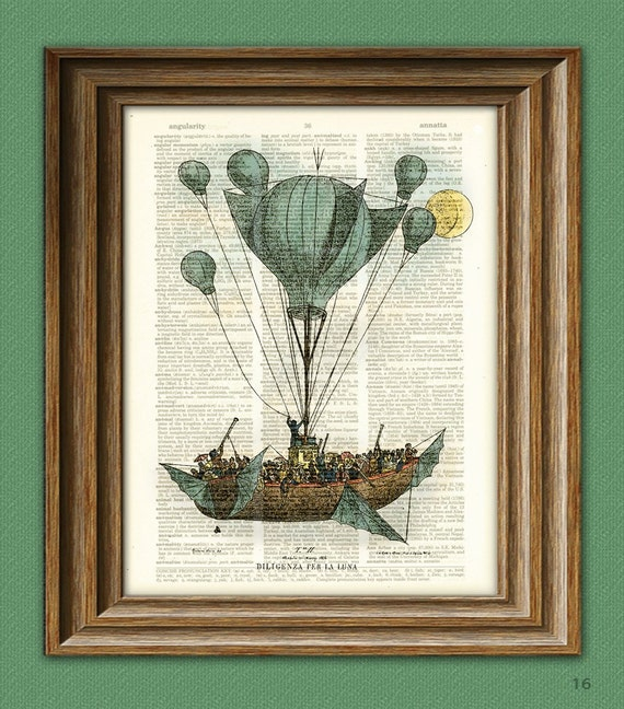A Stagecoach to the moon DIRIGIBLE balloon illustration dictionary page book altered art print