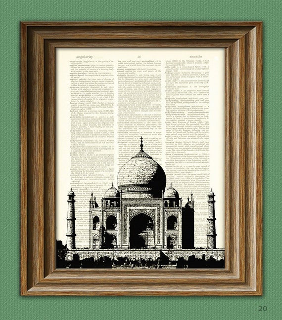 TAJ MAHAL mausoleum palace beautifully upcycled dictionary page book art print