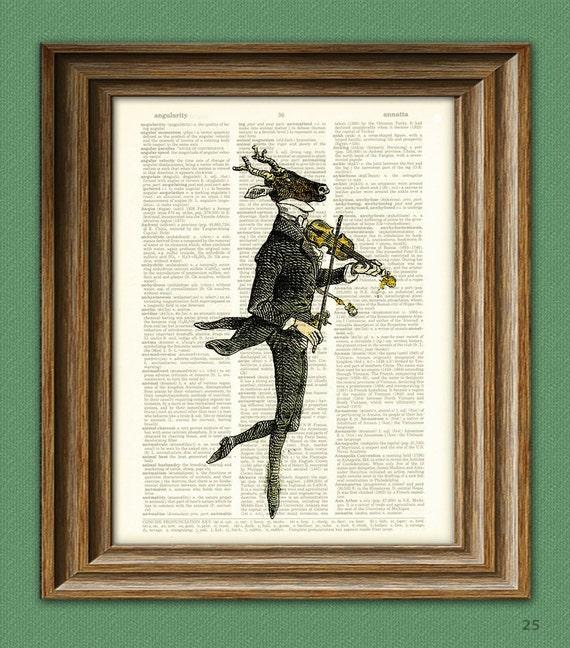 Deer Art Print Fiddler Deer with a Violin illustration beautifully upcycled dictionary page book art print J. J. Grandville