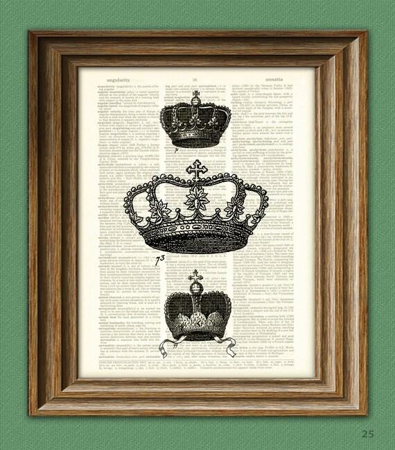 Three ROYAL CROWNS illustration beautifully upcycled dictionary page book art print