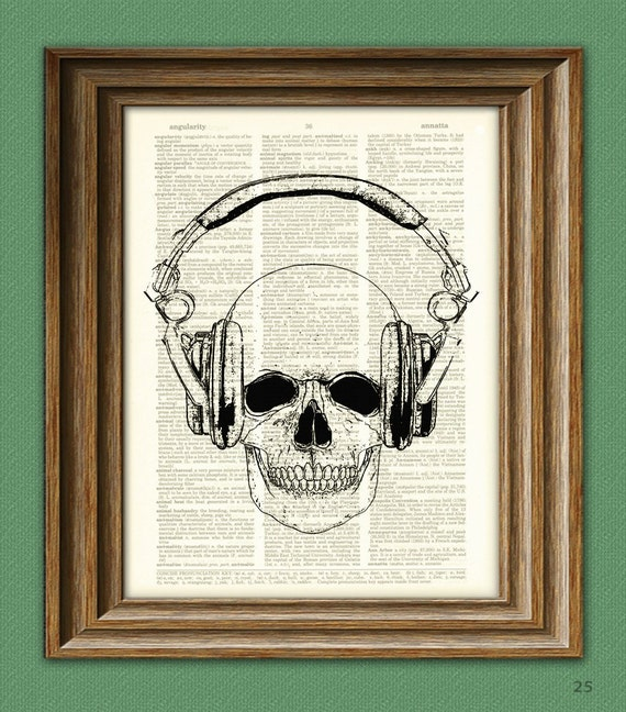 cool SKULL and DJ HEADPHONES upcycled dictionary page book art print