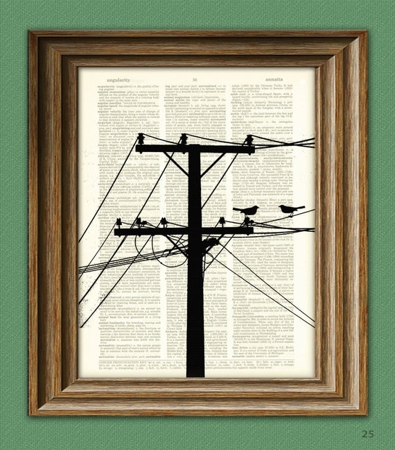 POWER LINES with BIRDS Electrical Tower Pole and Wires  print over an upcycled vintage dictionary page book art